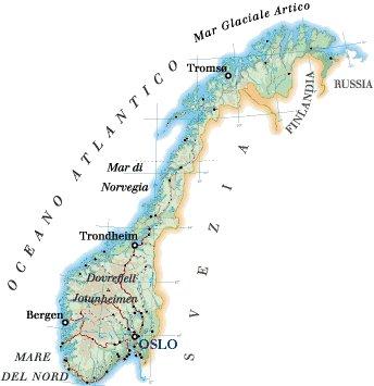Cartina Norvegia Politica.Norvegia